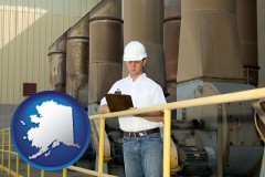 alaska map icon and a mechanical contractor inspecting an industrial ventilation system