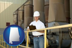 alabama map icon and a mechanical contractor inspecting an industrial ventilation system