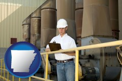 arkansas map icon and a mechanical contractor inspecting an industrial ventilation system