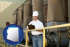 arizona map icon and a mechanical contractor inspecting an industrial ventilation system