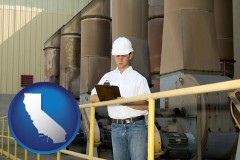 california map icon and a mechanical contractor inspecting an industrial ventilation system