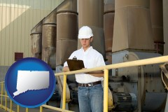 connecticut map icon and a mechanical contractor inspecting an industrial ventilation system