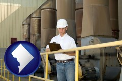 washington-dc map icon and a mechanical contractor inspecting an industrial ventilation system