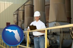 florida map icon and a mechanical contractor inspecting an industrial ventilation system