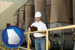 georgia map icon and a mechanical contractor inspecting an industrial ventilation system