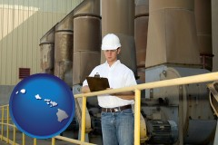 hawaii map icon and a mechanical contractor inspecting an industrial ventilation system