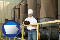 iowa map icon and a mechanical contractor inspecting an industrial ventilation system