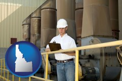 idaho map icon and a mechanical contractor inspecting an industrial ventilation system