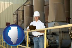 illinois map icon and a mechanical contractor inspecting an industrial ventilation system
