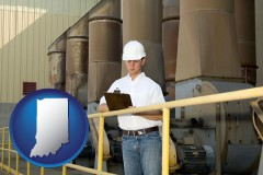 indiana map icon and a mechanical contractor inspecting an industrial ventilation system