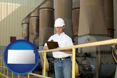 kansas map icon and a mechanical contractor inspecting an industrial ventilation system