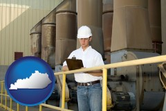 kentucky map icon and a mechanical contractor inspecting an industrial ventilation system