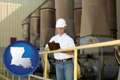louisiana map icon and a mechanical contractor inspecting an industrial ventilation system
