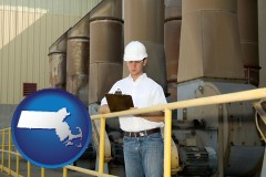 massachusetts map icon and a mechanical contractor inspecting an industrial ventilation system