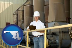 maryland map icon and a mechanical contractor inspecting an industrial ventilation system