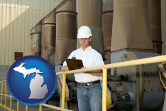 michigan a mechanical contractor inspecting an industrial ventilation system