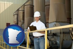 minnesota map icon and a mechanical contractor inspecting an industrial ventilation system