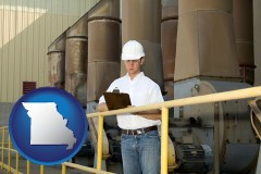 missouri map icon and a mechanical contractor inspecting an industrial ventilation system
