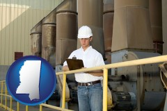 mississippi map icon and a mechanical contractor inspecting an industrial ventilation system