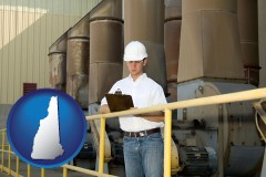 new-hampshire map icon and a mechanical contractor inspecting an industrial ventilation system