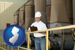 new-jersey map icon and a mechanical contractor inspecting an industrial ventilation system
