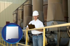 new-mexico map icon and a mechanical contractor inspecting an industrial ventilation system