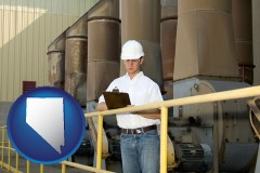 nevada map icon and a mechanical contractor inspecting an industrial ventilation system