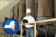new-york map icon and a mechanical contractor inspecting an industrial ventilation system