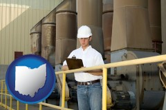 ohio map icon and a mechanical contractor inspecting an industrial ventilation system