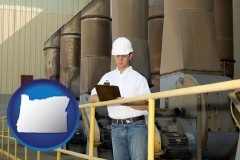 oregon map icon and a mechanical contractor inspecting an industrial ventilation system