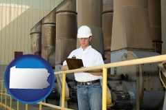 pennsylvania map icon and a mechanical contractor inspecting an industrial ventilation system