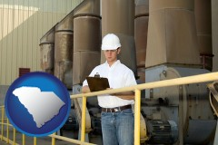south-carolina map icon and a mechanical contractor inspecting an industrial ventilation system