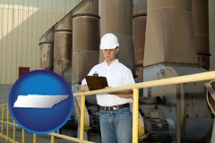 tennessee map icon and a mechanical contractor inspecting an industrial ventilation system