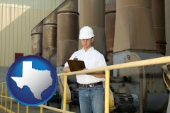 texas map icon and a mechanical contractor inspecting an industrial ventilation system