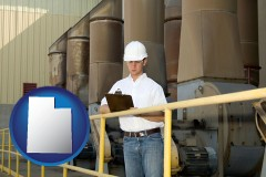 utah map icon and a mechanical contractor inspecting an industrial ventilation system