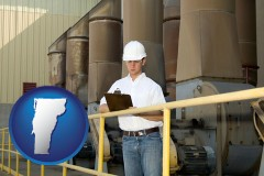 vermont map icon and a mechanical contractor inspecting an industrial ventilation system