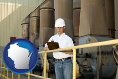 wisconsin map icon and a mechanical contractor inspecting an industrial ventilation system