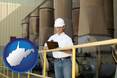 west-virginia map icon and a mechanical contractor inspecting an industrial ventilation system