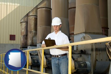 a mechanical contractor inspecting an industrial ventilation system - with Arizona icon