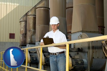 a mechanical contractor inspecting an industrial ventilation system - with Delaware icon