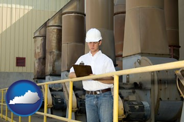 a mechanical contractor inspecting an industrial ventilation system - with Kentucky icon