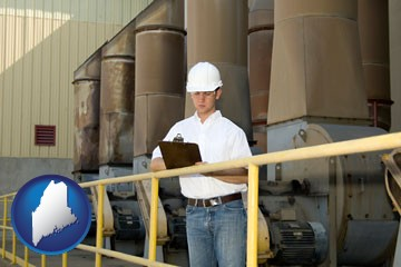 a mechanical contractor inspecting an industrial ventilation system - with Maine icon