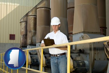 a mechanical contractor inspecting an industrial ventilation system - with Mississippi icon