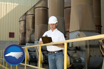 a mechanical contractor inspecting an industrial ventilation system - with North Carolina icon