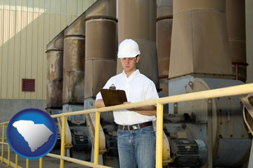 a mechanical contractor inspecting an industrial ventilation system - with South Carolina icon
