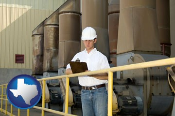 a mechanical contractor inspecting an industrial ventilation system - with Texas icon