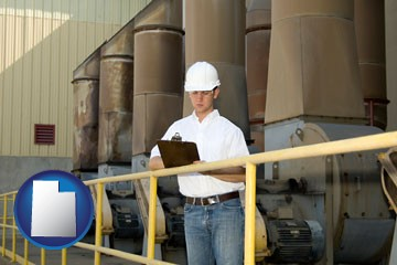 a mechanical contractor inspecting an industrial ventilation system - with Utah icon