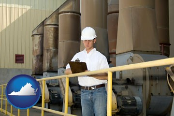 a mechanical contractor inspecting an industrial ventilation system - with Virginia icon