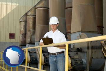 a mechanical contractor inspecting an industrial ventilation system - with Wisconsin icon